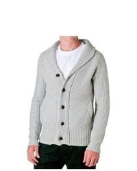 D-LUX Wool Blend Shawl Collar Cardigan Grey Size Medium