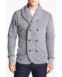 Diesel Smogami Double Breasted Shawl Collar Sweatshirt Melange Dark Grey Xx Large