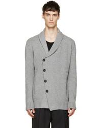 Alexander McQueen Grey Knit Shawl Cardigan