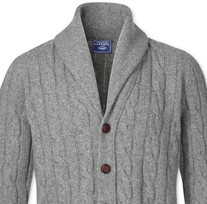 Charles Tyrwhitt Grey Shawl Collar Cardigan | Where to buy & how ...