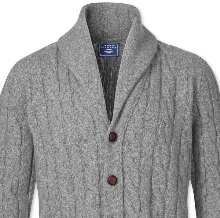 Charles Tyrwhitt Grey Shawl Collar Cardigan | Where to buy & how ...