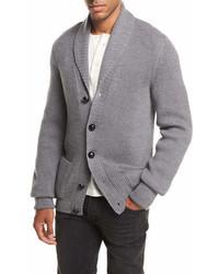 Tom Ford Iconic Shawl Collar Cardigan Light Gray