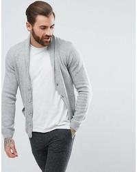Asos Lambswool Shawl Cardigan In Pale Gray