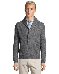 Grayers Light Grey Marled Knit Cotton Shawl Collar Button Front Cardigan