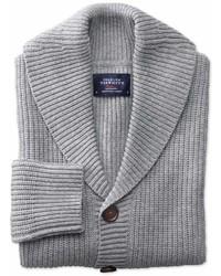 Charles Tyrwhitt Light Grey Rib Shawl Collar Wool Cardigan Size Large By