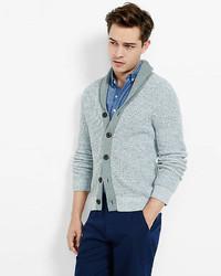 Marled Contrast Shawl Collar Cardigan