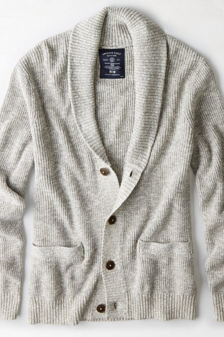 American Eagle Outfitters Heather Grey Ribbed Shawl Cardigan ...