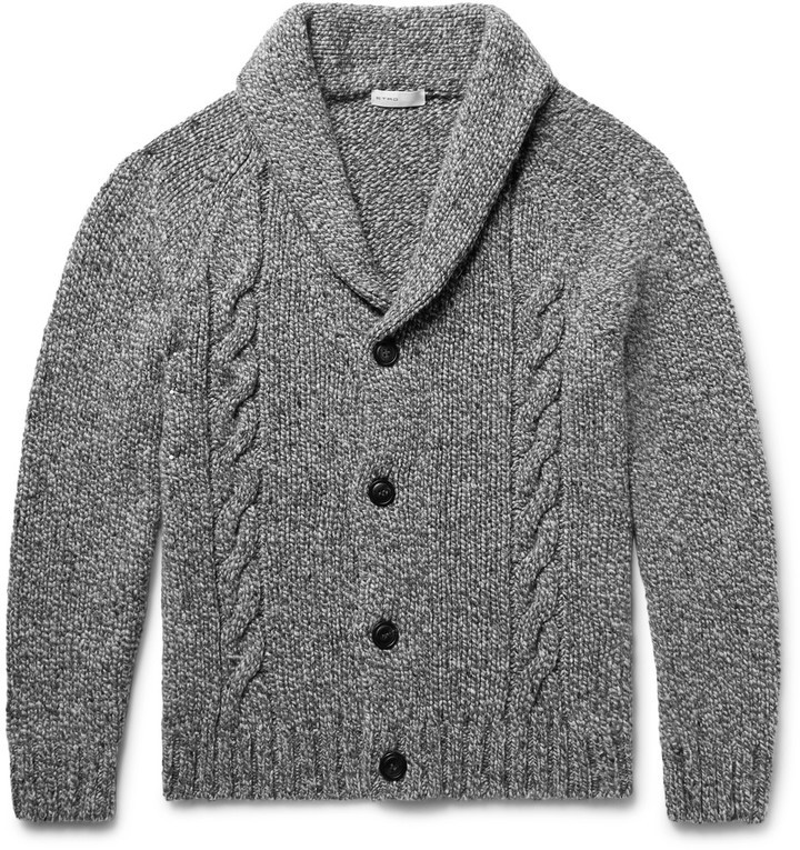 Etro Shawl Collar Cable Knit Wool And Cashmere Blend Cardigan ...