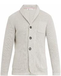 Brunello Cucinelli Shawl Collar Ribbed Knit Cotton Cardigan