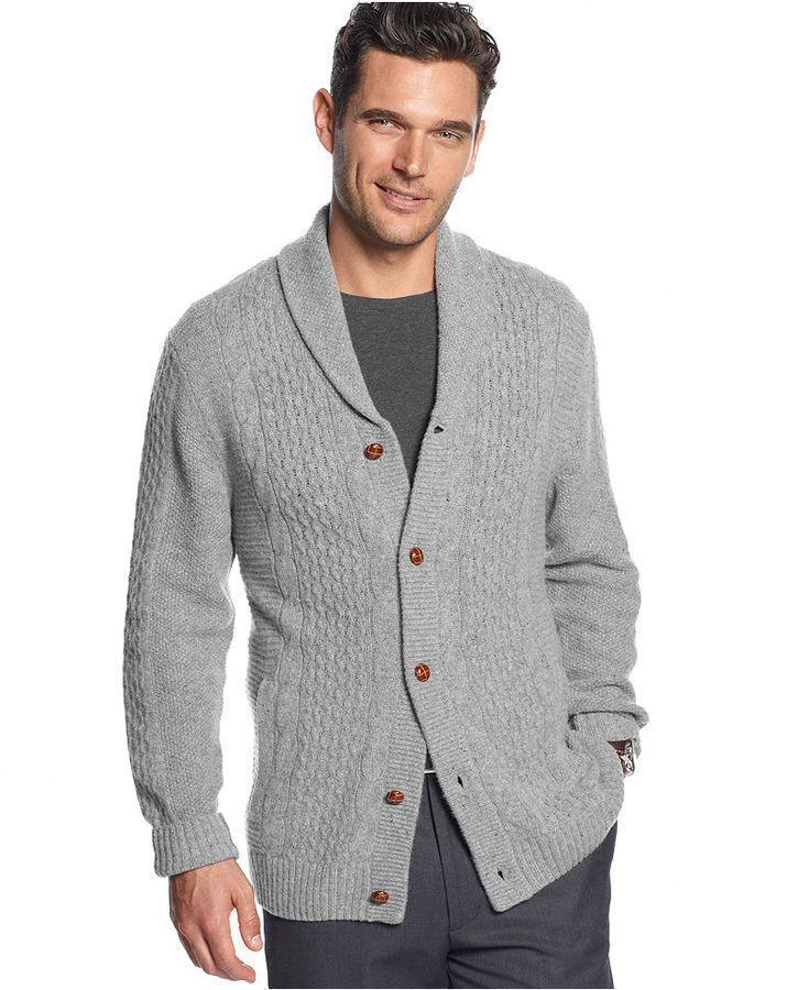 Tasso Elba Sweater Shawl Collar Toggle Lambswool Cardigan | Where ...
