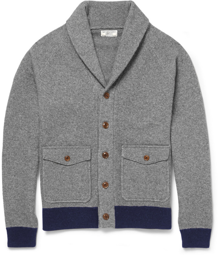 J.Crew Wallace Barnes Suede Elbow Patch Wool Blend Cardigan ...