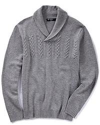 Grey Shawl-Neck Sweater