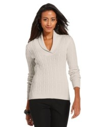 Charter Club Sweater Long Sleeve Shawl Collar Cable Knit