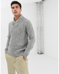 Pier One Chunky Knitted Jumper In Grey With Shawl Collar