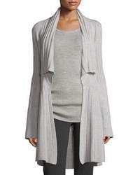 Derek Lam Open Front Cozy Cashmere Sweater Gray Melange