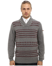 Ben Sherman Fairisle Shawl Collar Sweater Me10742