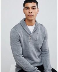Pier One Knitted Jumper In Grey With Collar