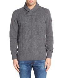 Ben Sherman Lambswool Cable Knit Shawl Collar Sweater