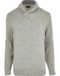 River Island Light Grey Lambs Wool Shawl Neck Sweater