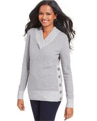 Style&co. Petite Marled Knit Side Button Sweater