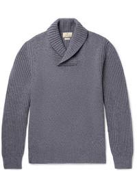 Hackett Shawl Collar Wool Yak And Cashmere Blend Sweater