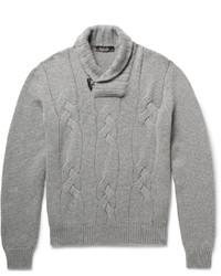 Loro Piana Snowfall Shawl Collar Cable Knit Baby Cashmere Sweater