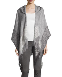 Neiman Marcus Colorblock Hooded Ruana Shawl Gray