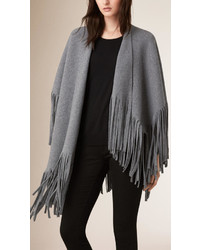 Burberry Fringed Felted Wool Cashmere Poncho