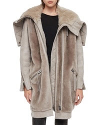 AllSaints State Lux Suede Parka With Genuine