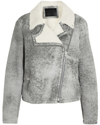 MCQ Alexander Ueen Distressed Shearling Biker Jacket