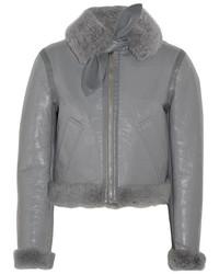 Balenciaga Bombardier Brilliant Polished Leather And Shearling Jacket Gray
