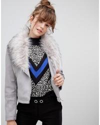 New Look Faux Fur Collar Suedette Biker Jacket