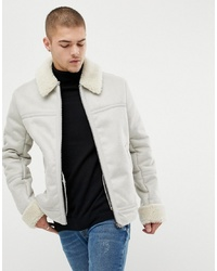 ASOS DESIGN Faux Shearling Jacket In Stone
