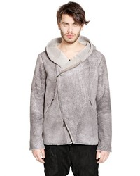 Giorgio Brato Marble Effect Hooded Shearling Jacket