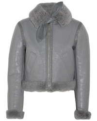 Balenciaga Le Bombardier Brilliant Polished Leather And Shearling Jacket Gray