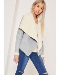 Missguided faux shearling waterfall jacket grey medium 813839