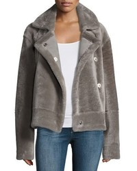Shearling snap front aviator jacket medium 5207738