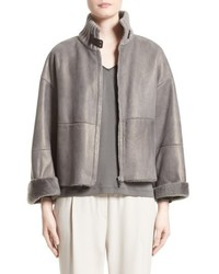 Suede trim metallic genuine shearling jacket medium 4913345