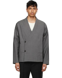 Tom Wood Grey Wool Wrap Jacket