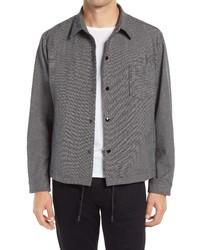 BOSS Relaxed Fit Check Print Wool Blend Shirt Jacket