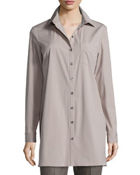 Michael Kors Michl Kors Long Sleeve Button Front Long Shirt Bison