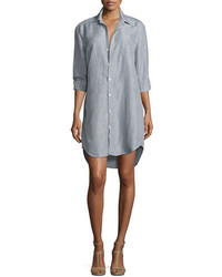 Frank eileen mary long sleeve shirtdress gray medium 4986016