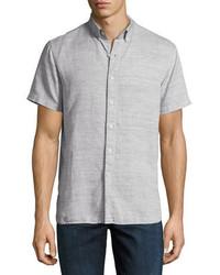 Joe's Jeans Henry Short Sleeve Slub Cotton Linen Shirt Gray