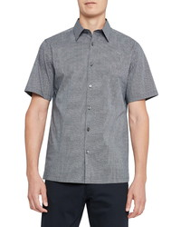 Theory Irving Rove Regular Fit Dot Print Short Sleeve Shirt