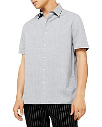 Topman Melange Classic Fit Short Sleeve Dobby Button Up Shirt