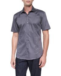 Bogosse Printed Short Sleeve Woven Shirt Gray Pattern