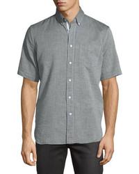 rag & bone Short Sleeve Oxford Shirt Gray