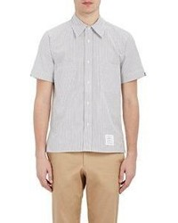 Thom Browne Striped Short Sleeve Shirt Light Grey