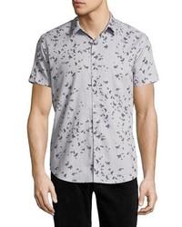 Theory Zack S Leaflet Linen Cotton Short Sleeve Shirt Gray