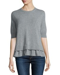 Barrie Layered Hem Short Sleeve Sweater Heather Gray